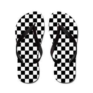 Black And White Checkered Flip Flops Cafepress