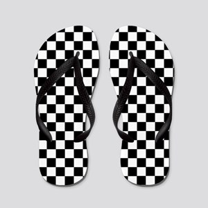 Black White Checkered Flip Flops