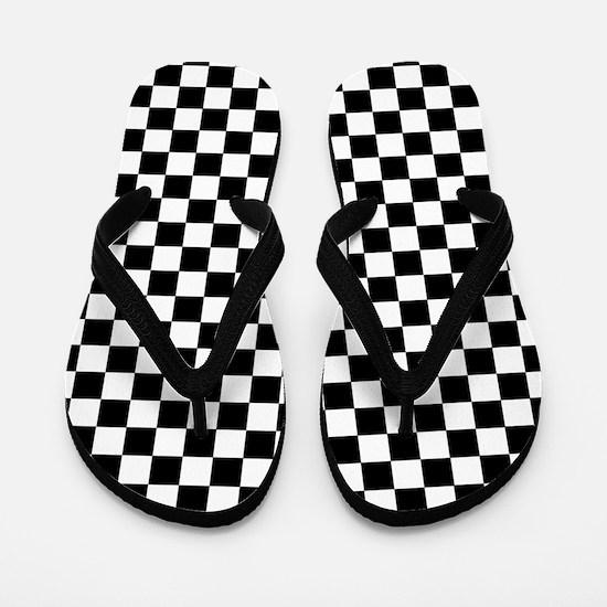 Black White Checkered Flip Flops