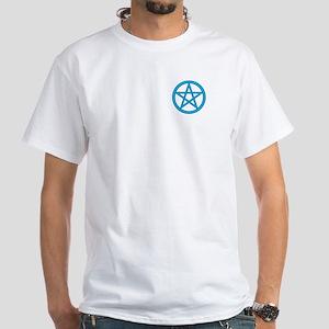 Powder Blue Pentagram White T-Shirt