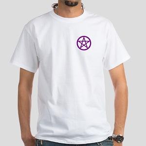 Purple Plum Pentagram White T-Shirt