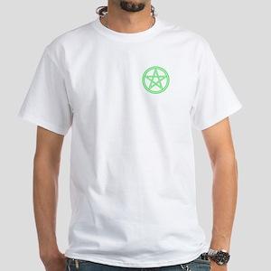 Green Pentagram White T-Shirt