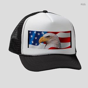 fcb35a07aa6 Bald Eagle On American Flag Kids Trucker hat