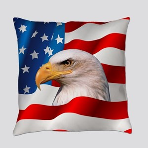 Bald Eagle On American Flag Everyday Pillow