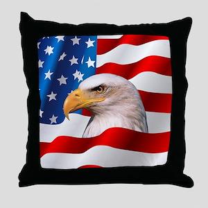 Bald Eagle On American Flag Throw Pillow
