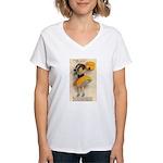 Girl With Pumpkin Women's V-Neck T-Shirt