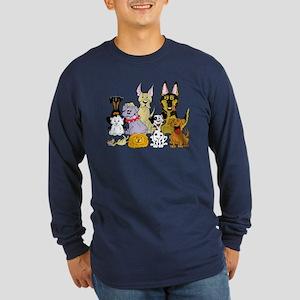 Cartoon Dog Pack Long Sleeve Dark T-Shirt