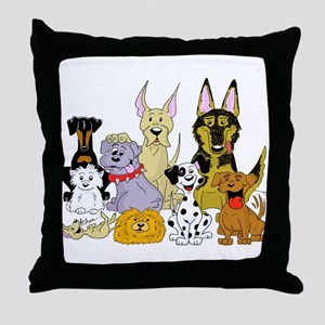 Cartoon Dog Pack Throw Pillow