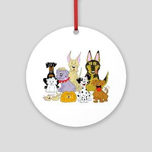 Cartoon Dog Pack Ornament (Round)