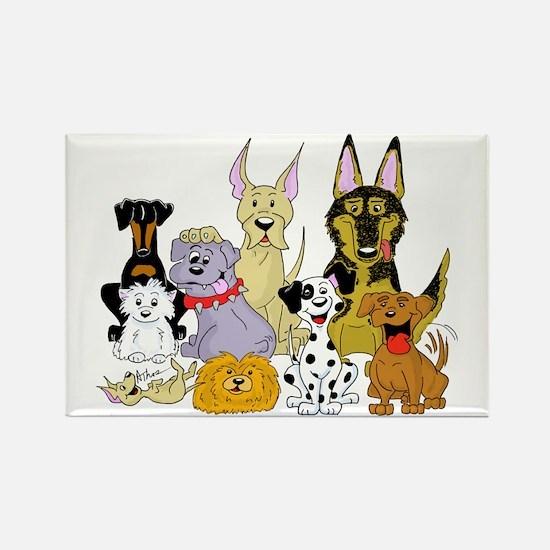 Cartoon Dog Pack Rectangle Magnet (100 pack)