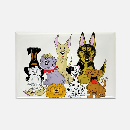 Cartoon Dog Pack Rectangle Magnet