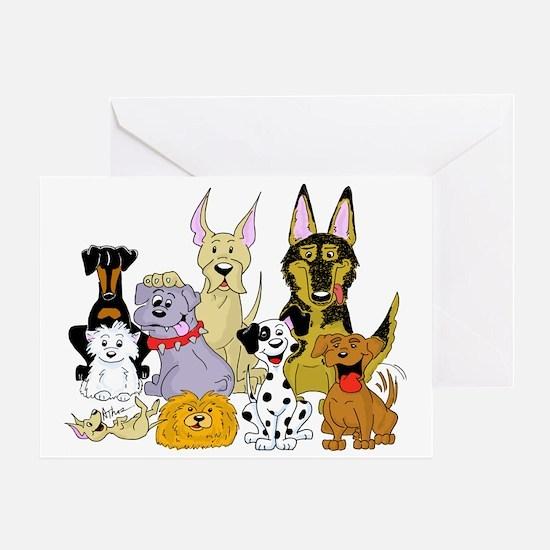 Cartoon Dog Pack Greeting Card