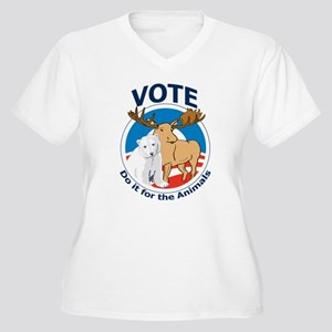 Vote - Do It for the Animals Women's Plus Size V-N
