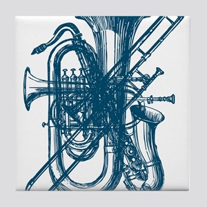 Blue Brass & Sax Tile Coaster
