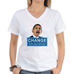Obama-style CHANGE Women's V-Neck T-Shirt