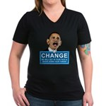 Obama-style CHANGE Women's V-Neck Dark T-Shirt