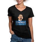 Obama-style CHANGE Women's V-Neck Dark T-Shirt