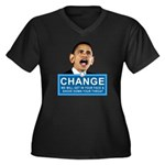 Obama-style CHANGE Women's Plus Size V-Neck Dark T