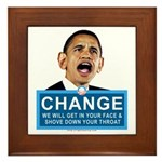 Obama-style CHANGE Framed Tile