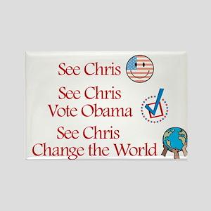 See Chris Vote Obama Rectangle Magnet