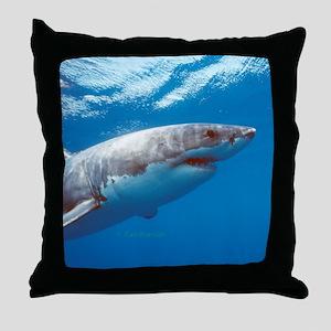 Great white shark portrait Throw Pillow