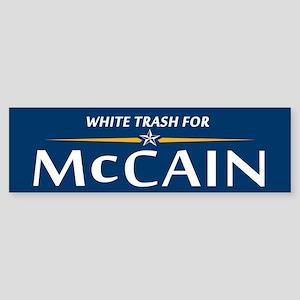 White Trash For McCain Bumper Sticker