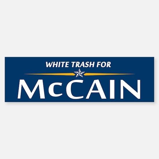 White Trash For McCain Bumper Bumper Bumper Sticker