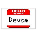 Hello my name is Devon Rectangle Sticker