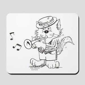 Catoons trumpet cat Mousepad