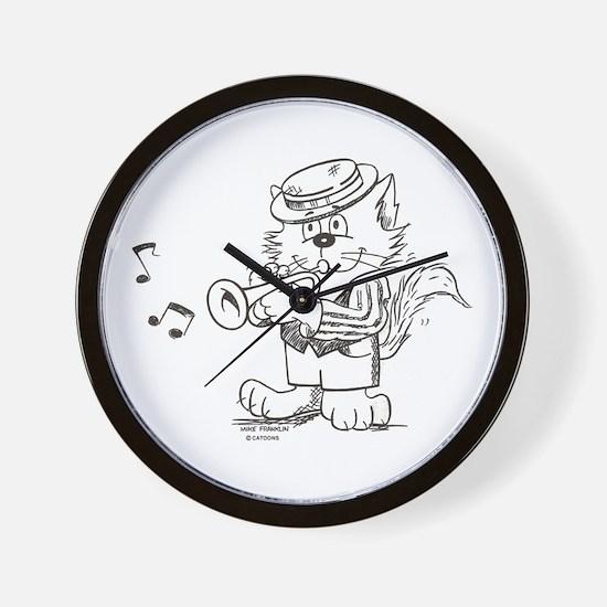 Catoons trumpet cat Wall Clock
