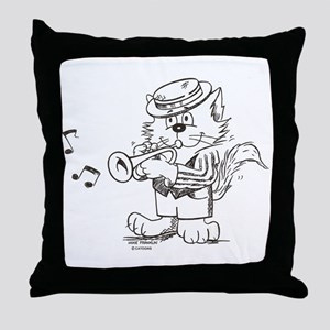 Catoons trumpet cat Throw Pillow