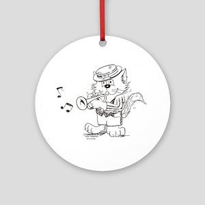 Catoons trumpet cat Ornament (Round)