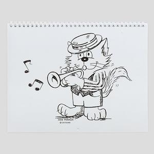 Catoons trumpet cat Wall Calendar