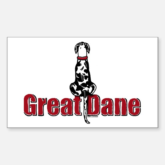 Harlequin Great Dane UC Sit Rectangle Decal