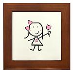 Girl & Pink Ribbon Framed Tile