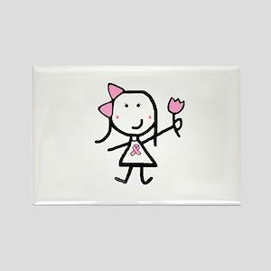 Girl & Pink Ribbon Rectangle Magnet