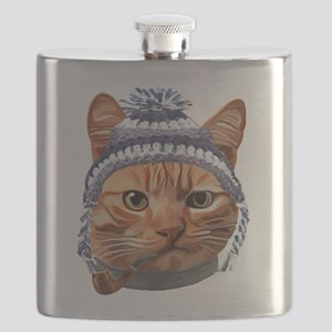 Cat Kitty Kitten In Clothes Pipe Toque Beani Flask