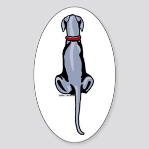 Blue Great Dane UC Sit Oval Sticker