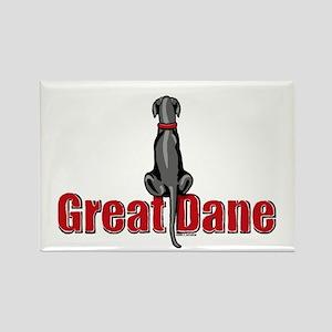 Black Great Dane UC Sit Rectangle Magnet