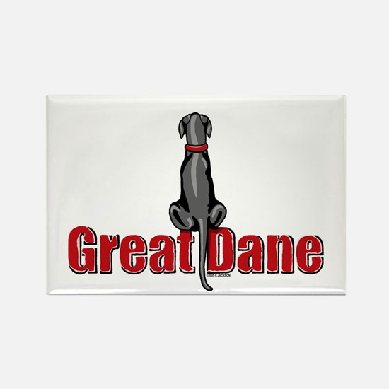 Black Great Dane UC Sit Rectangle Magnet