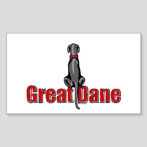 Black Great Dane UC Sit Rectangle Sticker