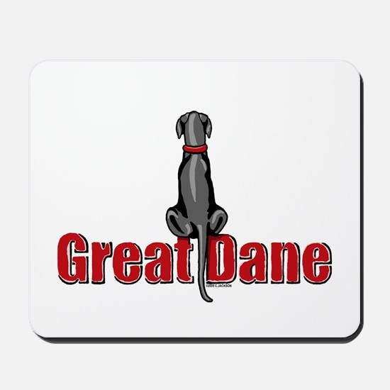 Black Great Dane UC Sit Mousepad