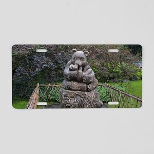 Panda bear and cub statue Aluminum License Plate