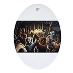 Dancing Bears Painting Oval Ornament
