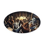 Dancing Bears Painting Oval Car Magnet