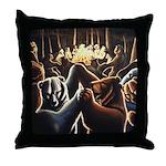 Dancing Bears Painting Throw Pillow