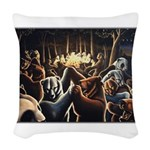 Dancing Bears Painting Woven Throw Pillow