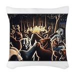 Dancing Bears Painting Woven Throw Pillow