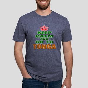 Keep Calm And Go To Tonga C Mens Tri-blend T-Shirt
