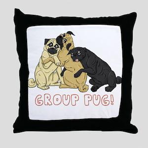 Group Pug Throw Pillow